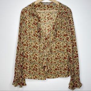 Kate Hill Silk Floral Angel Bell Sleeve Cuff Shirt